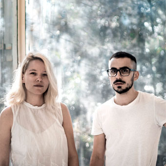 The OVERLAP visualization studio founders at the 2018 Venice Bienalle. Monica Safta on the left, and Razvan Socol on the right.