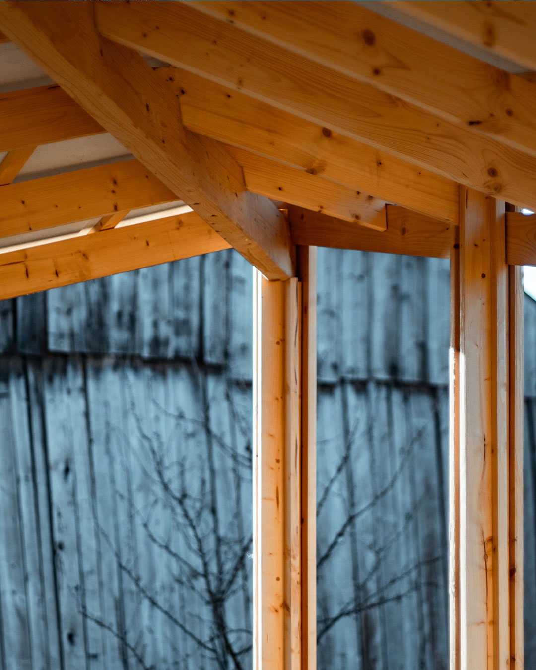 The inside of the gazebo roof, describing how this wood pavilion is made by joining wood planks.