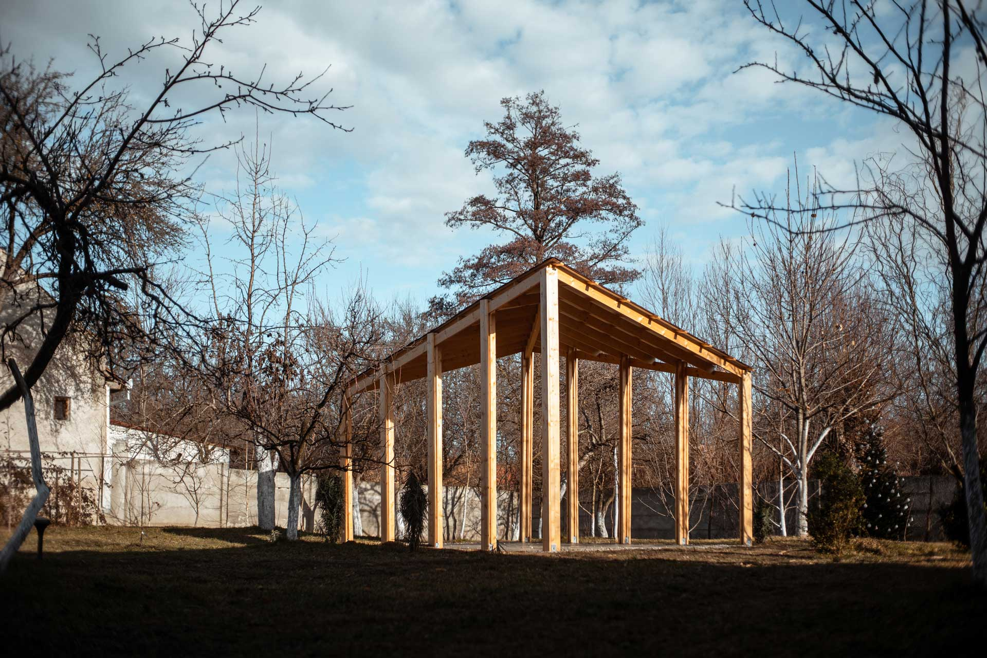 The finished wood gazebo in an early autumn morning light.