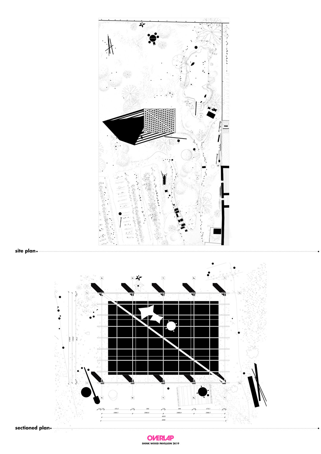 Building this wood pavilion explained through a black and white site plan and ground floor plan drawings, showing details of the garden, vegetation and finishing of the gazebo.