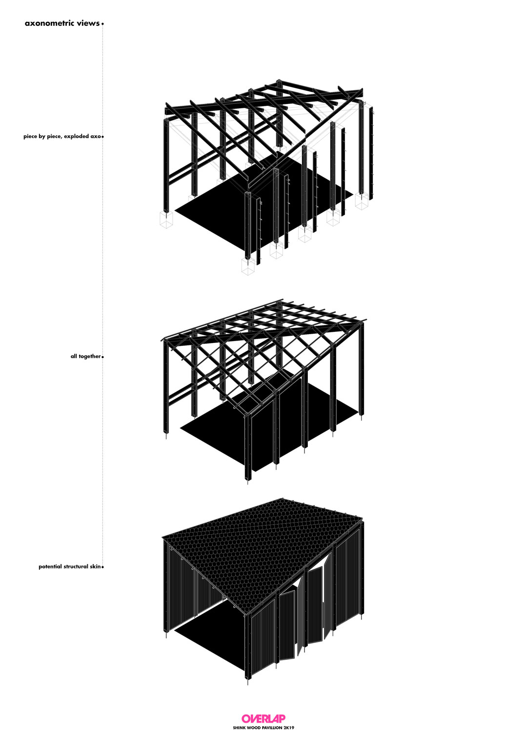 The process of building the wood pavilion explained through illustration. An exploded axonometric drawing showing how pieces come together, then the joined elements, and the final result illustrated.