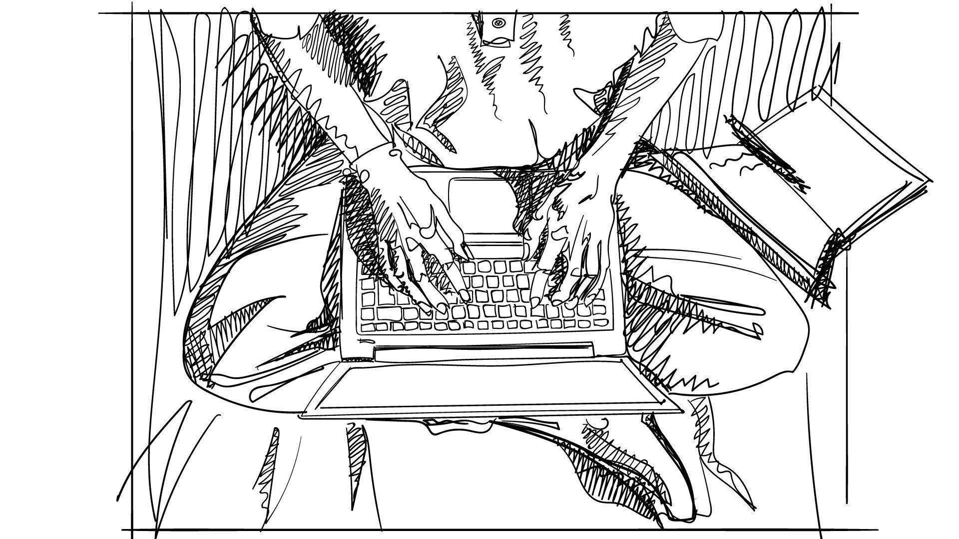 Student redacteaza o disertatie de arhitectura pe laptop, in timp ce sta in pat.