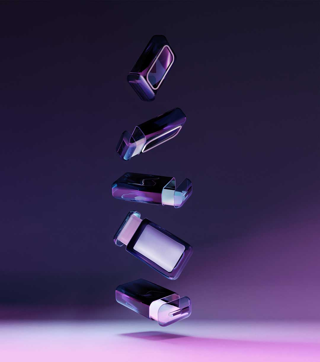 A futurist, purple and pink plexiglass piece of furniture levitating in a 3d product rendering.