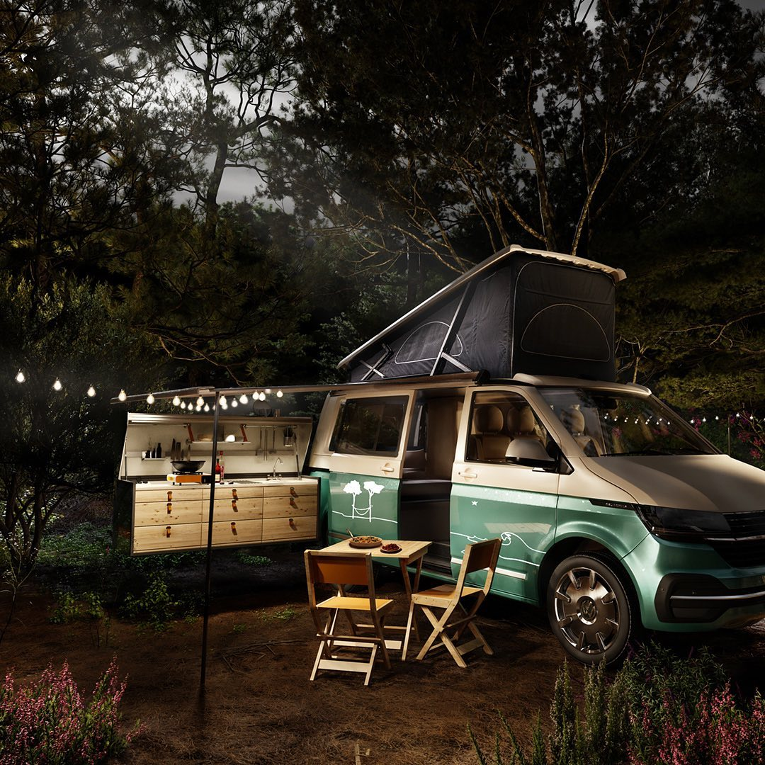 3d render of a portable kitchen on a camper van, at night.