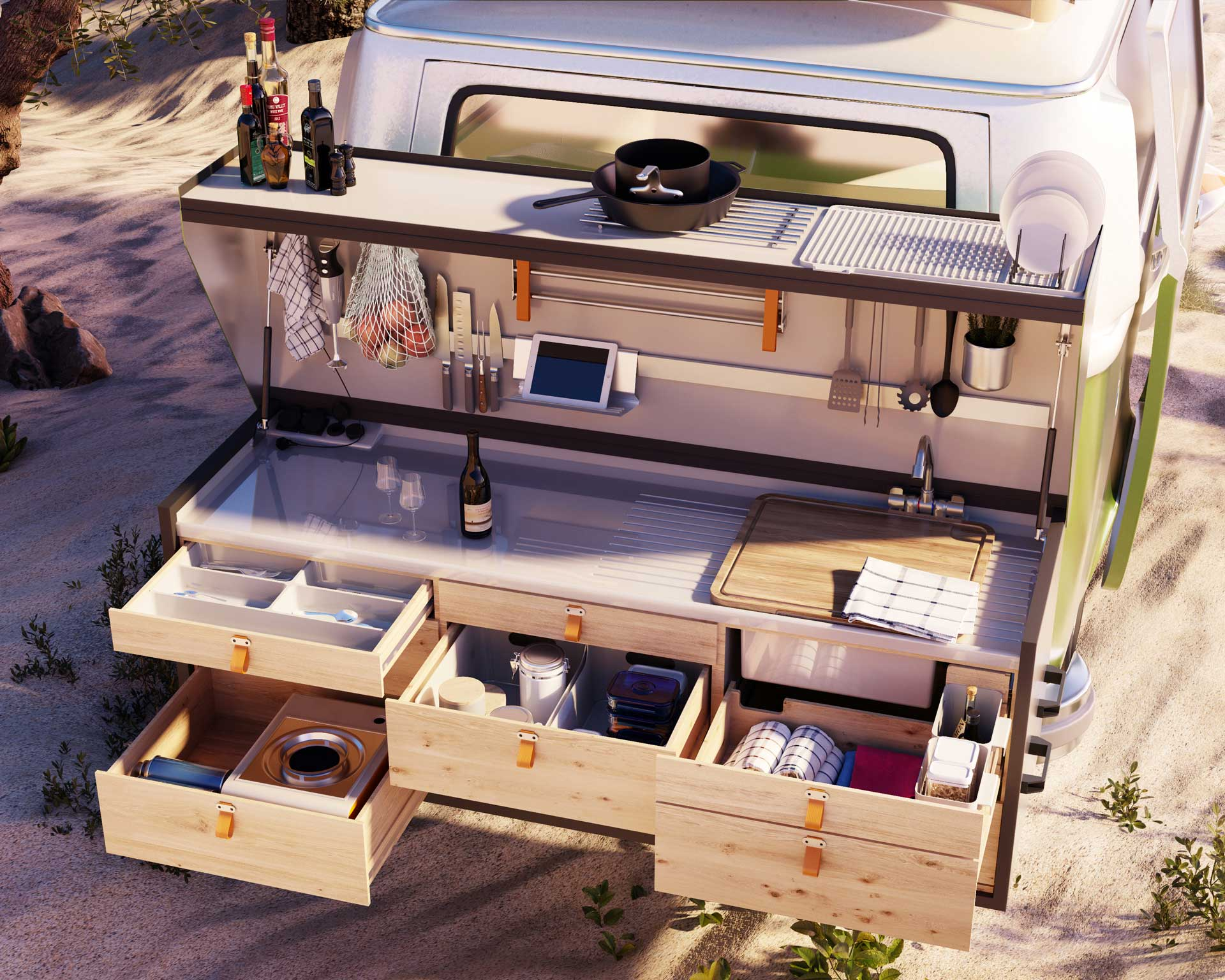 3d product rendering of a portable kitchen on the back of a camper van.
