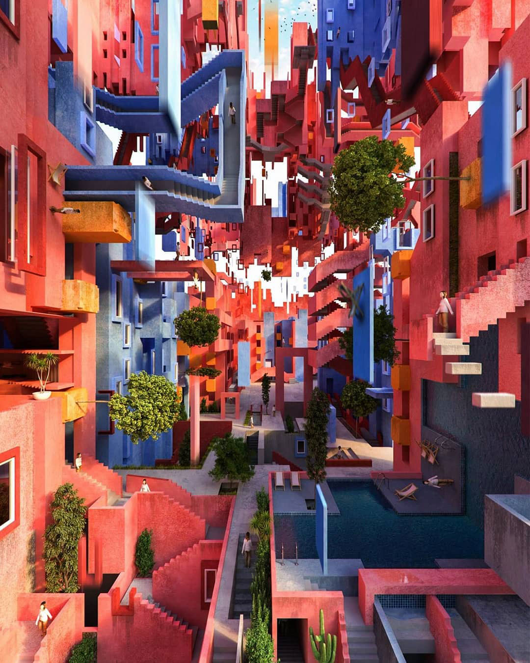 Disorienting Escherian composite image of intertwining stair design staircases in the colors red and blue designed by the architect Ricardo Bofill