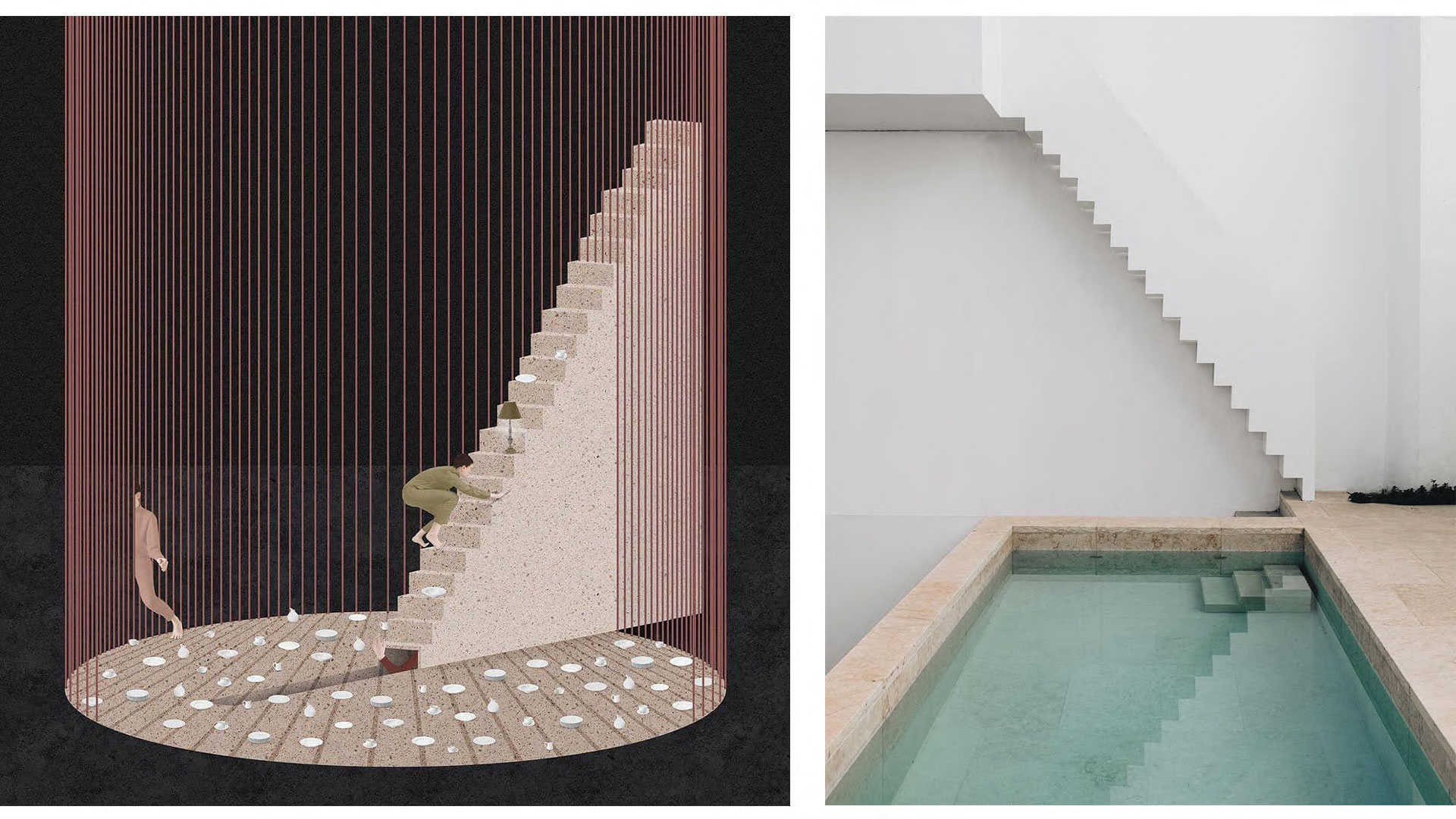 Two images depicting tall and minimal stair design, the one on the left is an illustration, the one on the right is a photograph