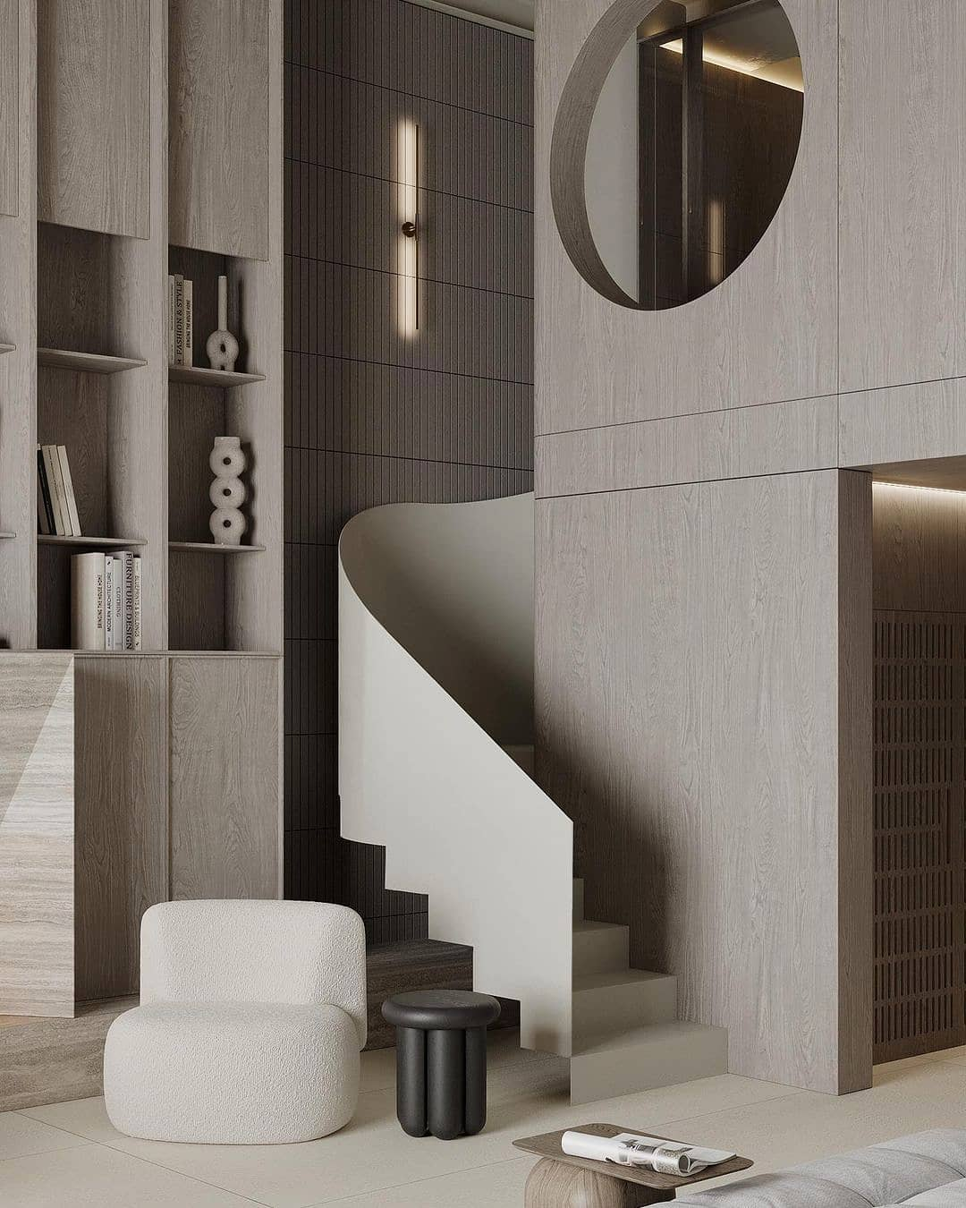 Soft pinkish gray postmodern futuristic interior room with minimal contemporary furniture, a thin steel stair design staircase and a round window gap at the upper half level