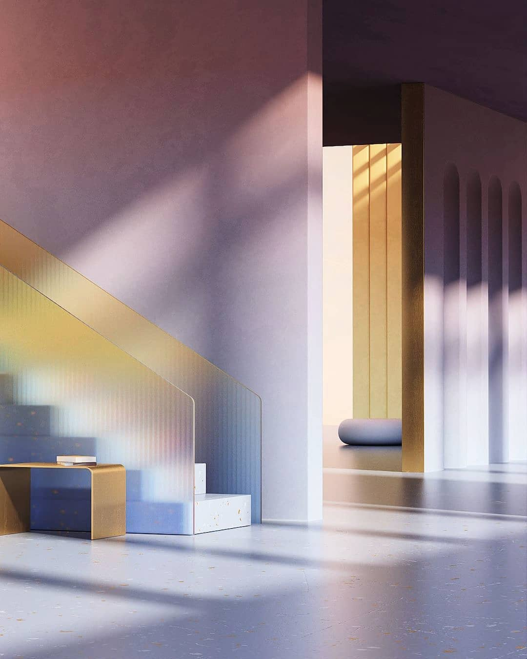 Minimal aesthetic interior room with stair design lit by soft window light