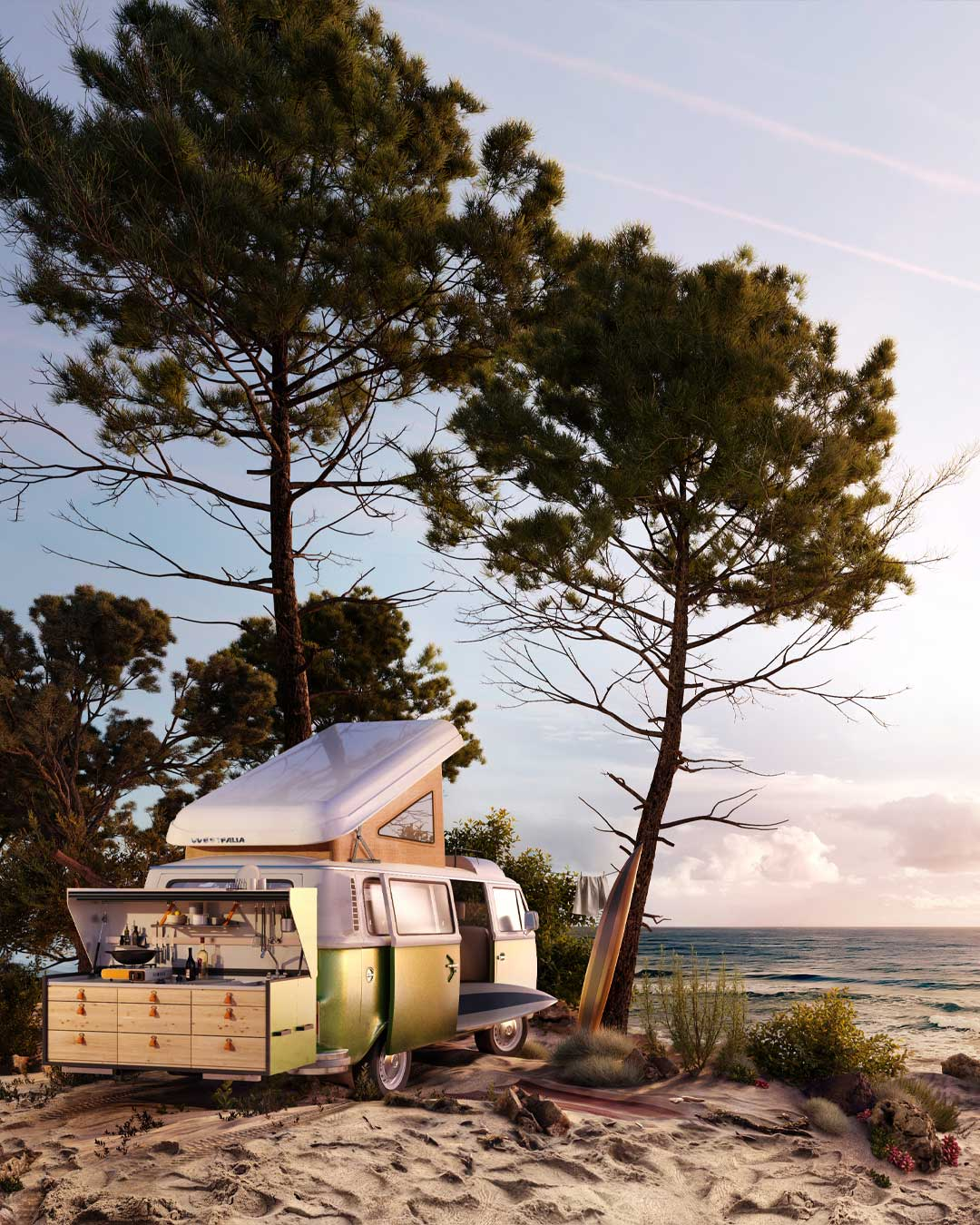 3d product rendering of a camper van on a Mediterranean beach with pine trees.